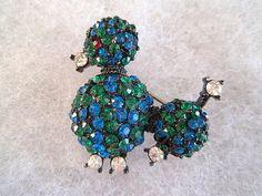 Poodle Brooch Vintage Rhinestones Blue Green Black.