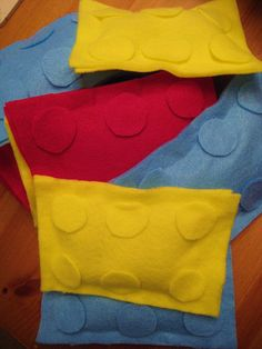 Make your own Lego Bean Bags - Felt and Glue Gun (fill w/rice)