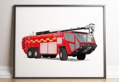 Boy Decor, Boys Room Decor, Boy Room, Kids Room, Car Wall Art, Art Wall Kids, Aviation Decor, Car Posters, Fire Trucks