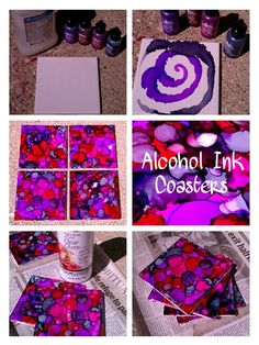 Alcohol Ink Coasters! I'm in love with this project! Wipe a tile with alcohol, drop various AI inks onto it (I wooshed some with canned air), let it dry and spray with a top coat (I love Krylon Triple-Thick Clear Glaze). I still need to paint the sides and add felt/pads to the bottom...was just too excited not to post these!