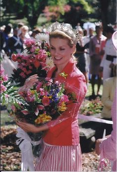 2005 Azalea Festival Queen Kelly Packard, covered up in bouquets (photo courtesy of the North Carolina Azalea Festival)