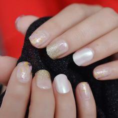 Short Round Pearl Shimmer Glitter Faux Nails – Fake Nail Store Nail Store, Nail Length, Round Nails, Salon Services, Nail Set, Short Nails, Nail Tips, Manicure, Glitter