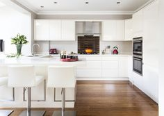 34 The Battle Over White Contemporary Kitchen Cabinets and How to Win It - myhomeorganic Kitchen Room Design, Modern Kitchen Design, Kitchen Interior, Kitchen Decor, Open Plan Kitchen Dining Living, Open Plan Kitchen Diner, New Kitchen, White Contemporary Kitchen, Contemporary Kitchen Cabinets