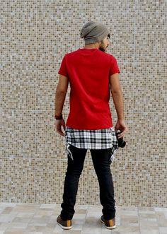 xadrez amarrado, camisa amarrada, gorro, moda masculina, camiseta vermelha www.boyestilo.com moda para homens