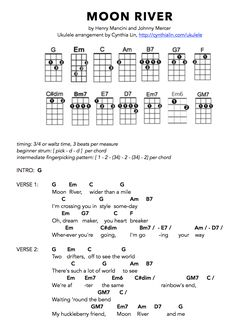 """The ukulele is a very small guitar that originated from an island in Portugal called Madeira. This instrument was called """"braguinha"""" in Portuguese. Ukulele Songs Beginner, Ukulele Chords Songs, Lyrics And Chords, Guitar Songs, Moon River, Ukulele Tabs, Ukulele Cords, Guitar Chord Chart, Kalimba"""