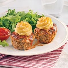 boeuf pomme de terre patate ketchup laitue Meatloaf Recipes, Beef Recipes, Cooking Recipes, Recipies, Vegan Breakfast Recipes, Vegan Recipes Easy, Muffin Tin Recipes, Cupcakes, Comfort Food