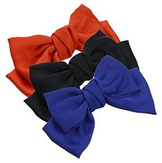 3Pack Fashion DoubleDeck Chiffon Large Solid Color Bowknot Hair Clip Women Girls Headband Hair Bow Accessories HC2175 Black Orange and Deep Blue >>> Visit the image link more details.