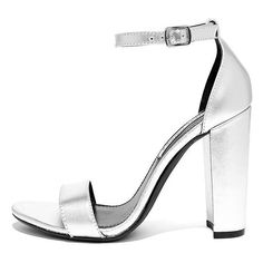 Steve Madden Carrson Silver Leather Ankle Strap Heels ($89) ❤ liked on Polyvore featuring shoes, pumps, silver, ankle tie shoes, steve madden, steve-madden shoes, silver shoes and ankle wrap shoes