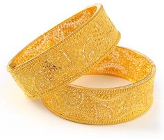 Gold Jewelry | 22kt Gold Jewelry (kadas 2 pcs) - BaKa4115 - 22kt Gold wide bangles ...