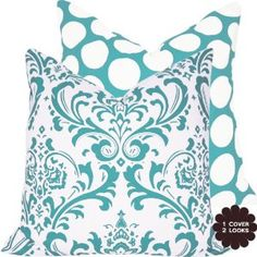 "Amazon.com: Turquoise Mist Collection - 18"" Square Decorative Throw Pillow Cover - Damask and Polka Dots - White and Blue Hues - 1 Pillow Cover, 2 Looks: Bedding & Bath"