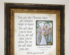 Celebrating the Special Moments in Your LIfe by PhotoFrameOriginals Personalized Parents of the Groom Wedding Gift from Son, Wedding Day Gift for Parents of the Bride from Daughter<br> Thank You Gift For Parents, Wedding Gifts For Parents, Wedding Thank You Gifts, Wedding Gifts For Groom, Personalized Wedding Gifts, Bride Gifts, Mother Of The Groom Gifts, Mother In Law Gifts, Father Of The Bride