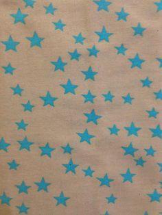 Tissu beige imprimé étoiles cyan 100% cotton