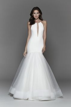 Bridal Gowns, Wedding Dresses by Tara Keely Style 2703 - Ivory crepe fit to flare gown, halter neckline with plunging keyhole detail, complete illusion low back, full tulle skirt with sparkle underlay, horsehair hem detail and chapel train.