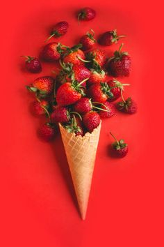 View top-quality stock photos of Closeup Of Ice Cream Cone With Strawberries Against Red Background. Fruit Photography, Color Photography, Loving Him Was Red, Red Wallpaper, Red Walls, Red Background, Strawberry Background, Red Aesthetic, Cherry Red