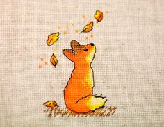 Completed counted cross stitch picture Little fox Embroidery