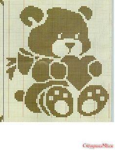 Kira scheme crochet: Scheme crochet no. Filet Crochet Charts, Knitting Charts, Baby Knitting, Cross Stitch Baby, Cross Stitch Animals, Cross Stitch Patterns, Baby Patterns, Crochet Patterns, Fillet Crochet