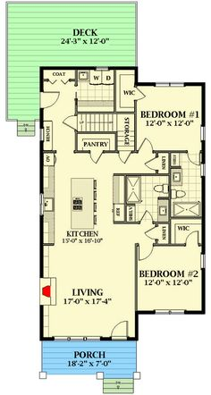 Cottage House Plans, Cottage Homes, Cottage Ideas, Small House Floor Plans, Best House Plans, Tiny House Cabin, Tiny Houses, Pool Houses, Mother In Law Cottage