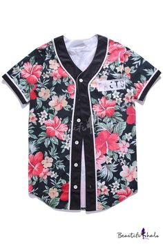 New Stylish Floral Print Button Down Short Sleeve Shirt 8f9be26718649