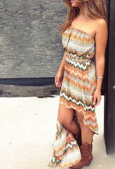 Aztec High Low Dress
