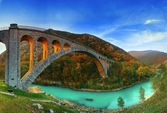 Solkan Bridge over the River Soca near Nova Gorica in Western Slovenia