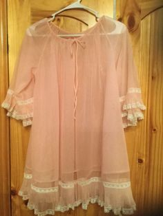 Vintage Sheer Pink Bed Jacket w/ Lace Ladys Garment Union Co. 1950's Nightie