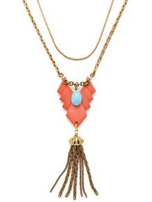 Coral Resin Geometric Shape & Brass Tassel Necklace by Lulu Frost up to 60% off at Gilt