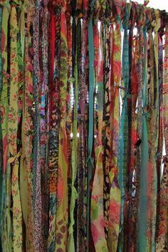 BOHO Gypsy Hippie Garland Curtain Room Divider Dorm Shower Backdrop Door Teen Rag Glamper Door Closet Up-Cycled BOHO Gypsy Hippie Garland Curtain Room Divider Dorm Shower Rag Curtains, Strip Curtains, Bohemian Curtains, Beaded Curtains, Bohemian Decor, Bohemian Living, Bamboo Curtains, Bohemian House, Hanging Curtains