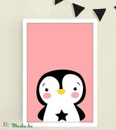Pingvines rózsaszín keretezett falikép / babaszoba dekoráció 20x30 cm-es méretben (MesesGyerekszoba) - Meska.hu Monitor, Playing Cards, Playing Card Games, Game Cards, Playing Card