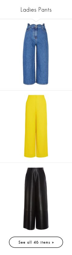 """Ladies Pants"" by charlotte-bay-almore ❤ liked on Polyvore featuring jeans, pants, blue, wide leg cropped jeans, wide leg jeans, wide leg blue jeans, valentino jeans, relaxed jeans, trousers and yellow trousers"