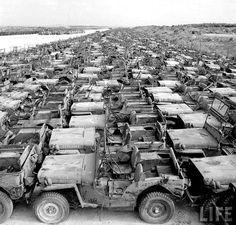 軍のトラック・ジープや部品などが第2次世界大戦の後沖縄に捨てられました。 この写真は1949年11月11日にカールメイデンというライフの写真家によって撮影されました。