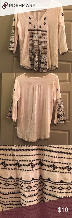 Lucky Brand Top Super comfy white lucky brand top with black designs. The shirt is see through, not because of wear it just came very thin. It has been worn once and is very comfortable and easy to style:) price is negotiable! Lucky Brand Tops Blouses