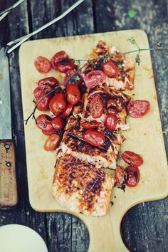 Bourbon Grilled Salmon - Posted by Hammerstone's Whiskey Disks, makers of the world's best whiskey stones. Salmon Recipes, Fish Recipes, Great Recipes, Seafood Recipes, Healthy Recipes, Cooking Recipes, Fish Dishes, Seafood Dishes, Grilled Salmon