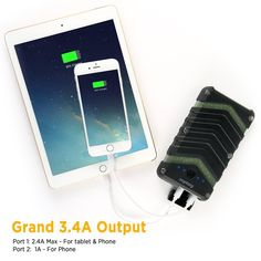 EasyAcc Solar Power Supply Energy Storage Battery Power Bank Rugged Waterproof Portable Rechargeable Charger with Dual Input and QC Output - Black and Green Super Bright Flashlight, Tablet Phone, Energy Storage, Portable Charger, Solar Power, Iphone 7, Challenges, Outdoor Lighting, Mobiles