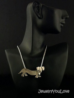 Sterling Silver Dachshund Necklace.