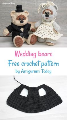 Amigurumi wedding bears is a wonderful gift for especial grand event! Create it by your own using this Amigurumi Wedding Bears Crochet Pattern! Crochet Patterns Amigurumi, Crochet Toys, Free Crochet, Doll Patterns Free, Free Pattern, Wedding Doll, Lovey Blanket, Crochet Animals, Sewing Crafts
