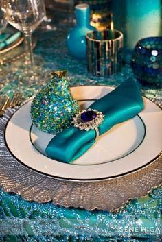 Peacock Wedding theme #peacock #napkin #wedding #dinner.