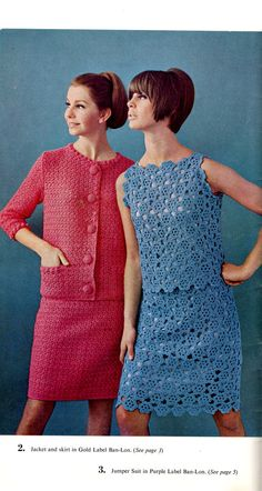 2 vintage crochet PDF pattern , crocheted Jacket and Skirt , crocheted Jumper Suit download patterns