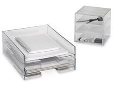 Clear Desk Accessories The Container Store $14.99 each