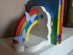 Cloud and rainbow Book Ends - Dancing Duck Designs Dancing Duck, Rainbow, Clouds, Shapes, Books, Painting, Color, Design, Livros