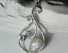 Moonstone Necklace Rainbow Moonstone Pendant by FantaSeaJewelry