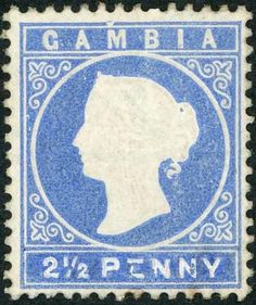 """Gambia ** 1883-93 ISSUES - 2½d Blue Essay derived from a mint 1880-81 3d value (large part o.g.) where the value tablet has been painted out and """"2½ PENNY"""" painted in (in Chinese white). Ex Dale-Lichtenstein (sold for £1200) & Weldhen and one of two examples believed to exist. Important exhibition item. Cross Reference: ESSAYS & PROOFS"""