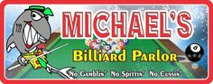Billiard Parlor Personalized Sign with Pool Shark, 8 Ball & Pool Table