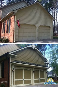 This home makeover included an update to the garage. The custom look was achieved by reshaping the door openings, adding a metal-roofed eyebrow and decorative brackets under the eaves, and new exterior lighting. The carriage-style doors were painted to match the home's new paint scheme. | Atlanta Garage Door Replacement | EXOVATIONS