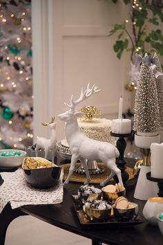 Target Holiday Emily Henderson Black White Gold Dining Room deer tabletop candles