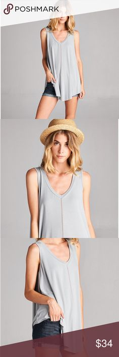 The Jill Tank Sleeveless V-Neck Flared Style Stitch detail on center front and back Color: Silver Material: Bamboo Fabric Machine Wash  *Price Firm Owl About Happy  Tops