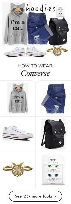 """Cat Hoodie"" by pampire on Polyvore featuring Converse, Karl Lagerfeld and Hoodies"