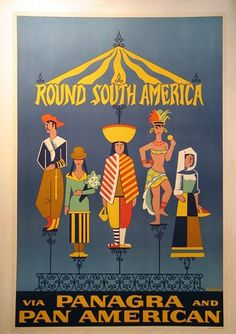 Vintage Pa Am Airlines Travel Poster: South America