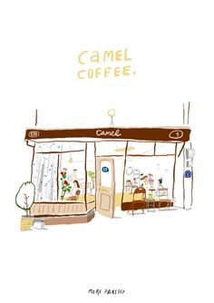 CAMEL COFFEE, Seoul illustration by MOREPARSLEY moreparsley.com Art And Illustration, Fashion Illustration Sketches, Watercolor Illustration, Illustrations Posters, Book Drawing, House Drawing, Doodle Drawings, Cute Drawings, Cute Art