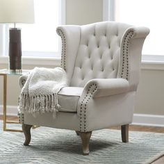 Amazing Chic Light Gray Tufted Fabric Wingback Chair With Kaylin Roll Arms And…