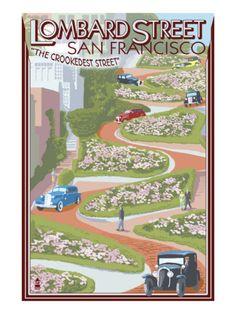 San Francisco, CA - Lombard Street - Lantern Press Poster Poster Vintage, Vintage Travel Posters, Vintage Postcards, Vintage Art, Lombard Street, Non Plus Ultra, San Francisco California, Poster Wall, Bike Poster